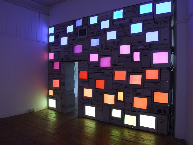 Sandy Smith, Mauritian Sunset, CRT Screens and Computer Art Installation, January 2006.